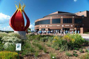 2018 Dedication ceremony for Jan Gaumitz' BLOOM outside the Lied Center of Kansas